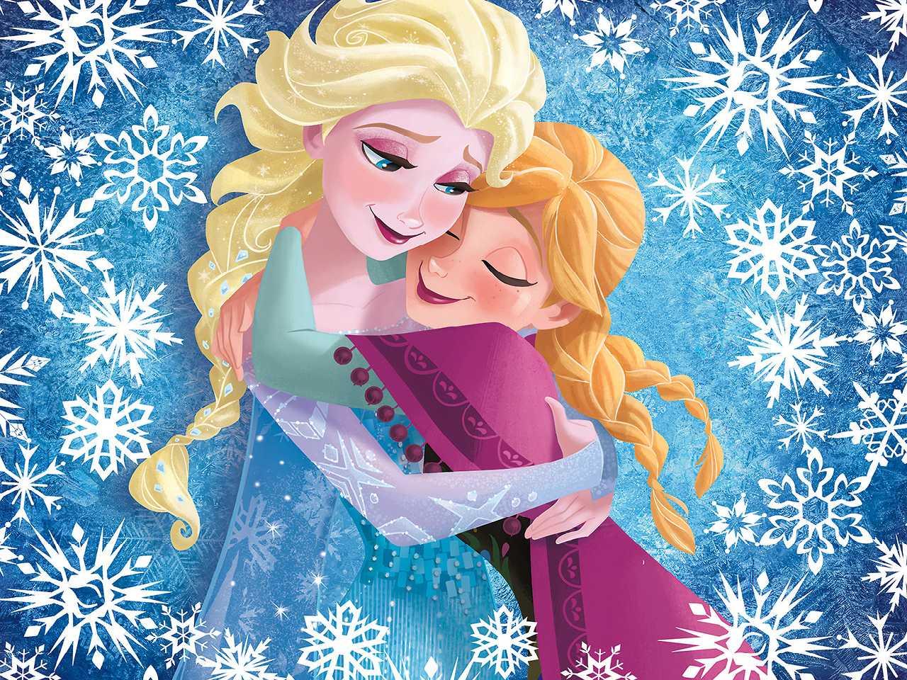 Elsa and Anna kertas dinding