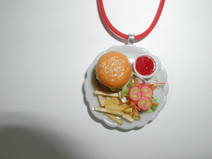 Hamburger n Fries Miniature Necklace