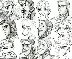Elsa and Hans sketches