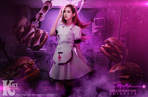 Girl's Generation/SNSD karatasi la kupamba ukuta possibly containing a tamasha called Seohyun Sexy Nurse