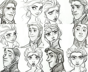 Hans and Elsa Sketches