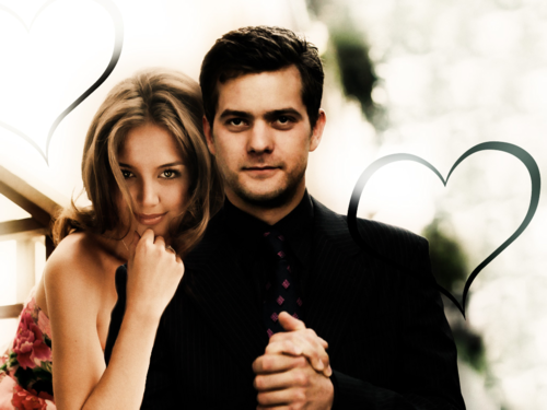 Joshua Jackson & Katie Holmes wallpaper probably with a business suit and a portrait called Joshua Jackson & Katie Holmes