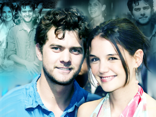 Joshua Jackson & Katie Holmes hình nền probably containing a bridesmaid and a portrait entitled Joshua Jackson & Katie Holmes