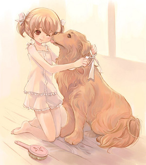 Chibi girl and dog-----------------♥