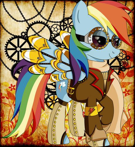 माइ लिट्ल पोनी फ्रेंडशिप ईज़ मॅजिक वॉलपेपर called Steampunk Ponies - RainbowDash