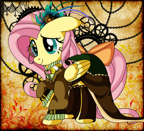 my little pony friendship is magic wallpaper with anime titled Steampunk Ponies - Fluttershy
