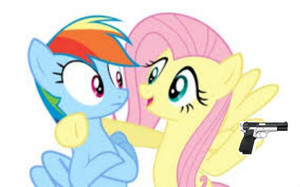 Rainbow Dash,Fluttershy,and Gun?