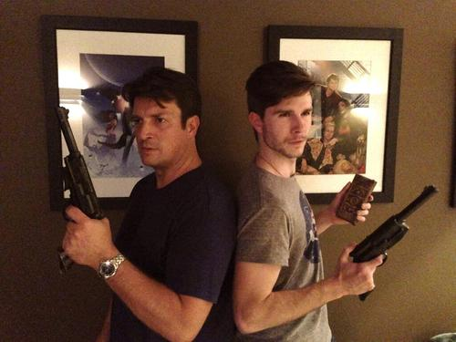 Nathan Fillion & Stana Katic fond d'écran possibly containing a fusilier, carabinier entitled Nathan's twitter-2014