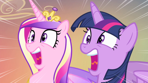 Princess Cadence wolpeyper with anime titled Cadance and Twilight screaming
