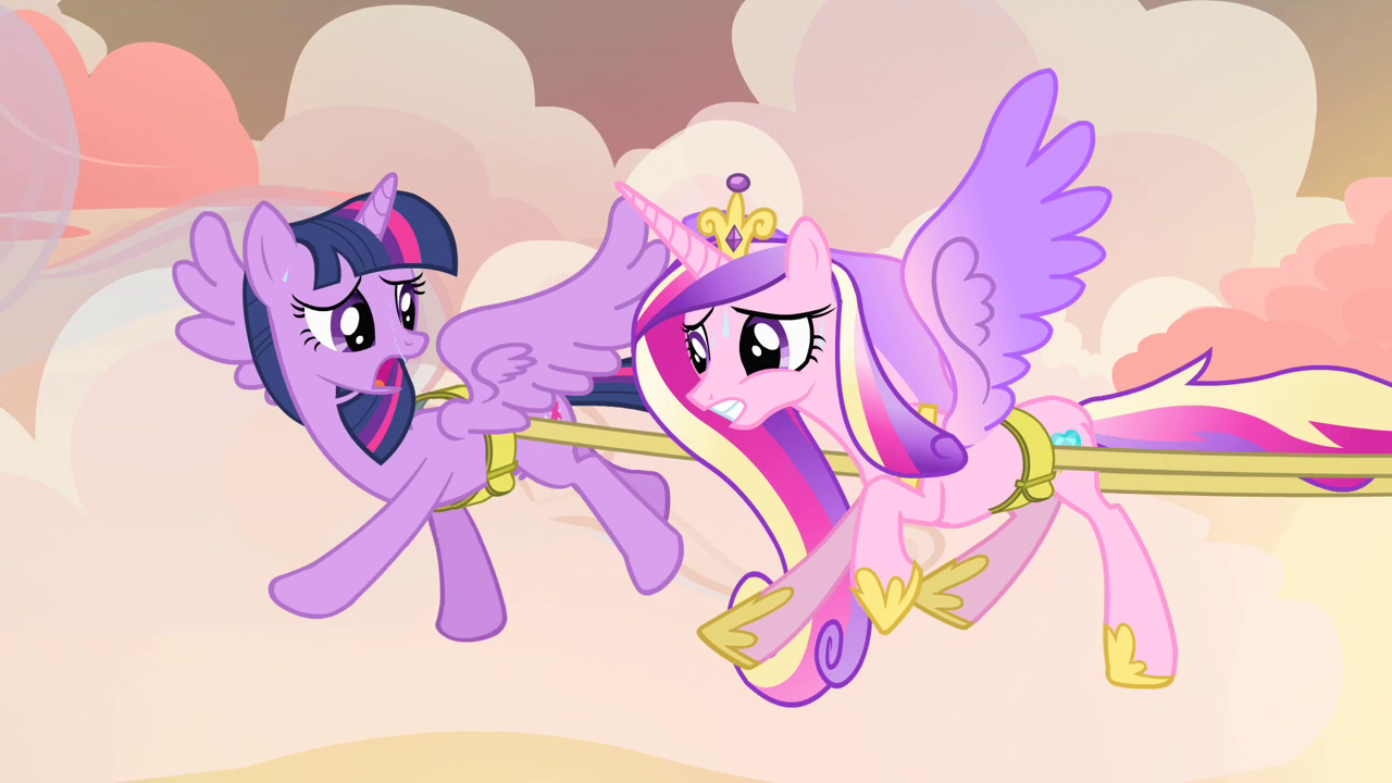 Twilight and Cadance flying