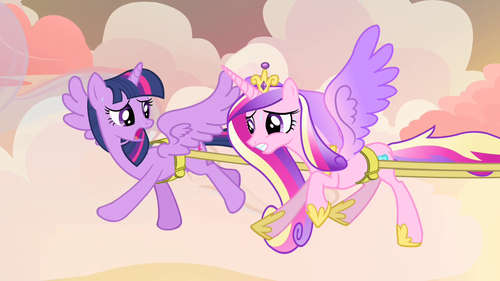 Princess Cadence wolpeyper possibly containing anime called Twilight and Cadance flying