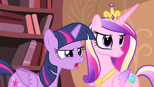 Princess Cadence wolpeyper with anime titled Cadance and Twilight