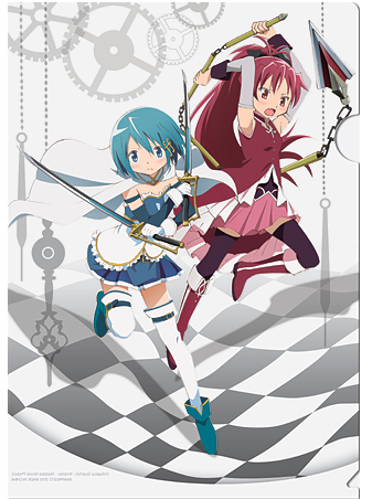 Puella Magi Madoka Magica karatasi la kupamba ukuta probably containing anime entitled Sayaka and Kyoko