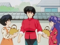 Akane and Shampoo brought Ranma hot water