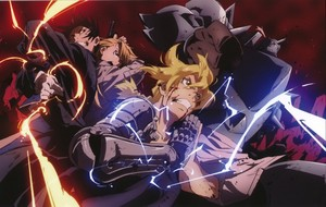 Roy Mustang, Ed and Riza (in the middle of the battle)