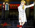 Roy Mustang and Riza Hawkeye (and Maes Hughes)