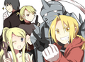 Roy Mustang, Riza Hawkeye, Edward and Alphonse Elric and Winry Rockbell