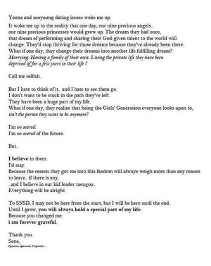 A VERY SWEET BUT HEART-BREAKING LETTER TO SNSD