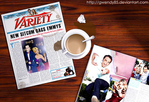 Sheldon Cooper wallpaper containing a newspaper, a coffee break, and anime called sheldon and penny