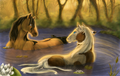 Spirit and Rain swimming art - spirit-stallion-of-the-cimarron photo
