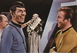 Spock and Kirk laughing!