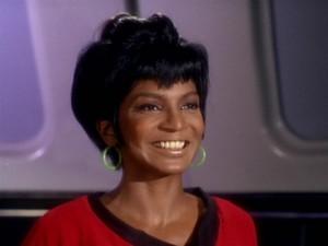 Uhura smiling!