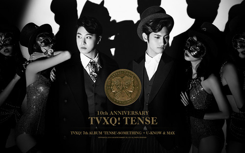 TVXQ!! 바탕화면 possibly with a bridesmaid and a sign entitled TVXQ - Tense