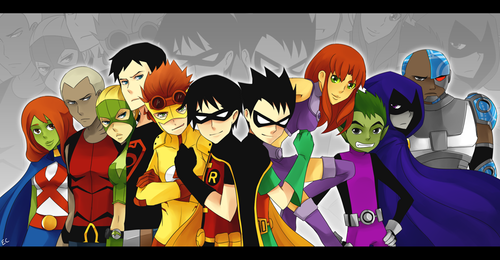 Teen Titans vs. Young Justice Обои possibly containing Аниме entitled pick your side