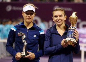Simona Halep and Angelique Kerber, Doha, Qatar, 2014