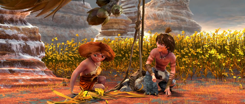 The croods images eep and guy hd wallpaper and background photos the croods wallpaper containing a fountain titled eep and guy voltagebd Gallery