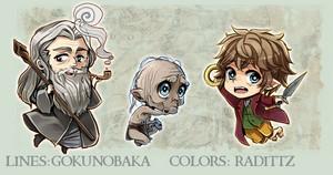 Gandalf, Gollum, Bilbo