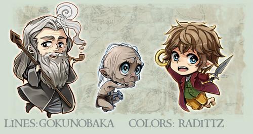 호빗 바탕화면 possibly containing 아니메 titled Gandalf, Gollum, Bilbo