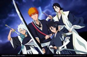 Toushiro Hitsugaya, Ichigo, Rukia and Byakuya