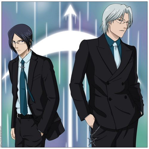 Uryu Ishida Hintergrund with a business suit, a suit, and a three piece suit called Family Portrait