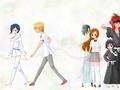 Uryu Ishida, Ichigo Kurosaki, Orihime Inoue, Ulquiorra Schiffer, Renji Abarai and Rukia Kuchiki