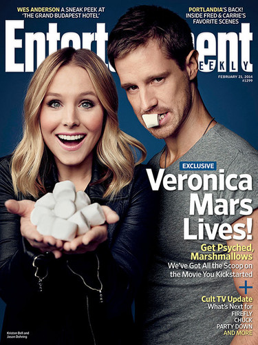Veronica Mars achtergrond probably containing a sign and a portrait entitled Veronica Mars Exclusive: Kristen klok, bell and Jason Dohring Get Steamy!