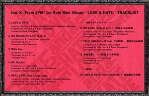 Jun.K tracklist for 1st Japanese solo mini-album 'Love
