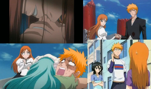anime ya Bleach karatasi la kupamba ukuta probably containing anime called ichigo-and-orihime-collage
