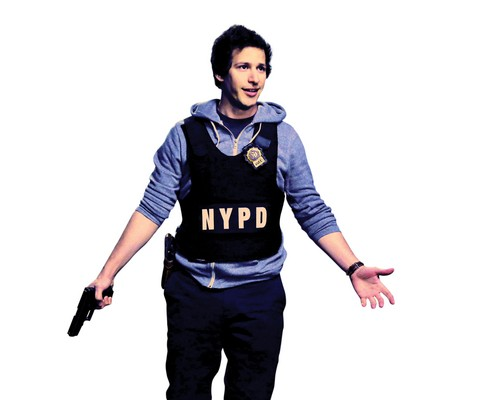 Brooklyn Nine-Nine wolpeyper probably with a bulletproof vest, a green beret, and fatigues titled Jake peralta