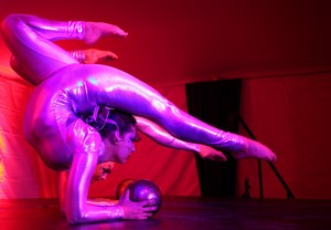 Contortion/circus act with ball