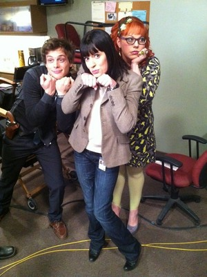 Matthew , Paget and Kirsten on the set