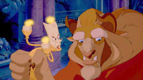 Disney Princess Sidekicks karatasi la kupamba ukuta possibly with anime entitled Lumiere with Beast (Adam)
