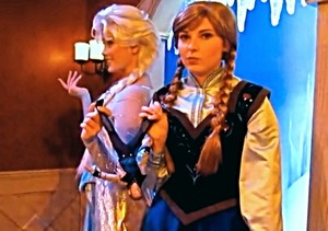 Disneyland Anna & Elsa with a Hans doll