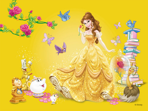 Disney Princess پیپر وال possibly with a bouquet entitled Belle