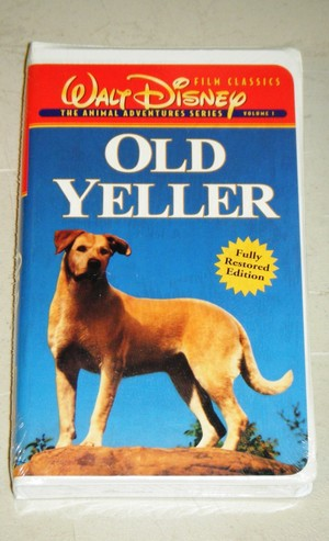 "1957 Disney Film, ""Old Yeller"" On home video cassette, videocassetta"