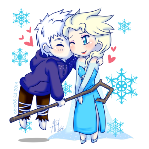 Elsa & Jack Frost karatasi la kupamba ukuta possibly with anime entitled A Kiss
