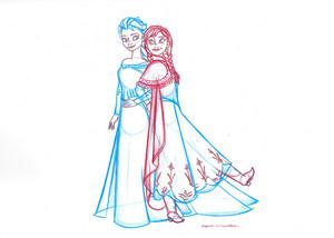 Elsa and Anna sketch