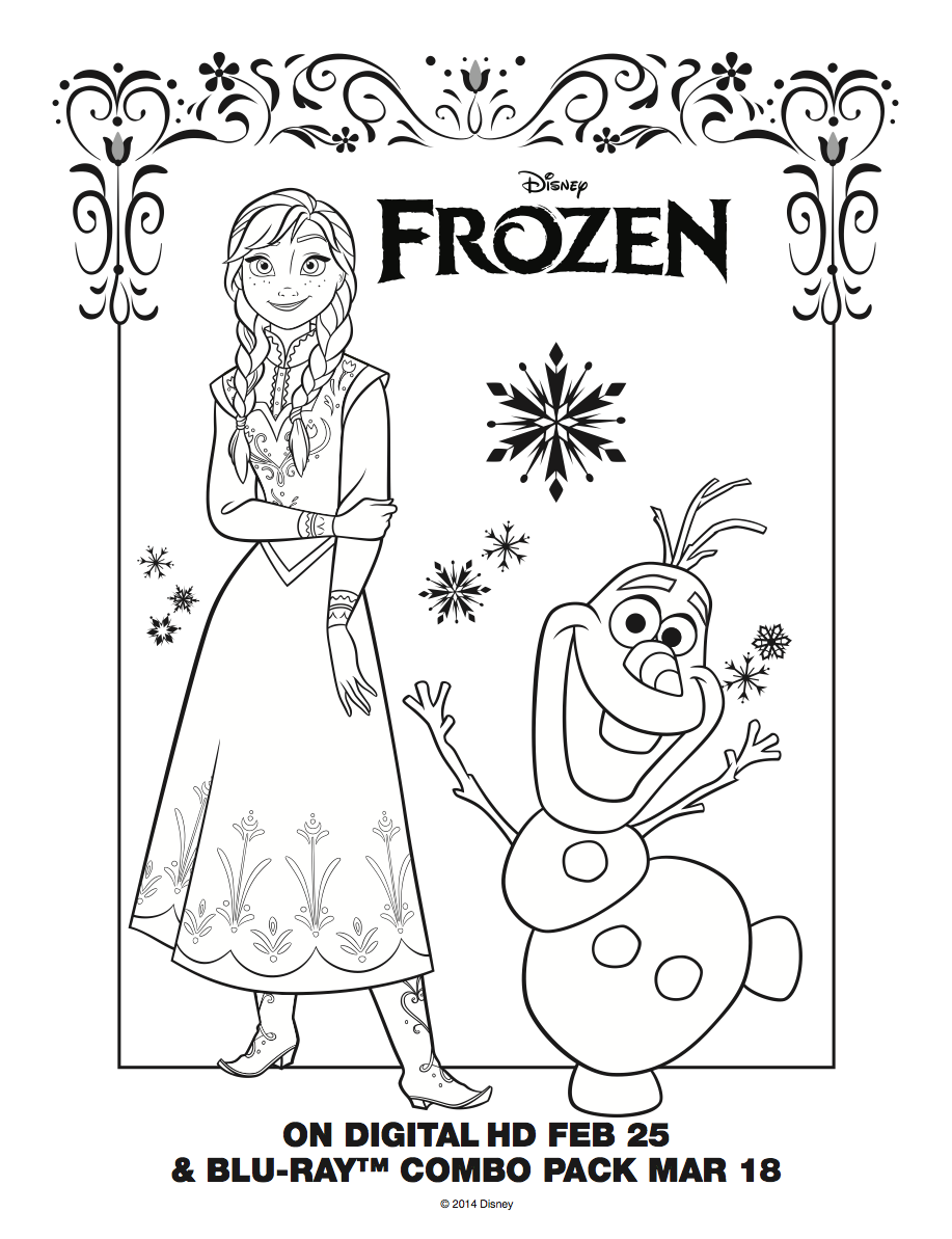 Frozen Anna And Olaf Coloring Sheet