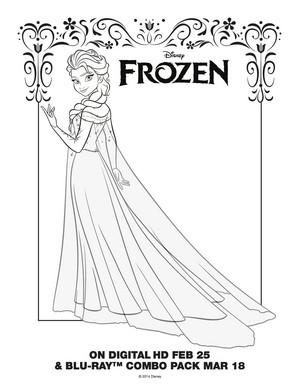 ফ্রোজেন - Elsa Coloring Page