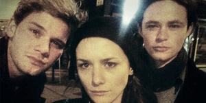 Jeremy, Addison, and Harrison on the 'Fallen' set